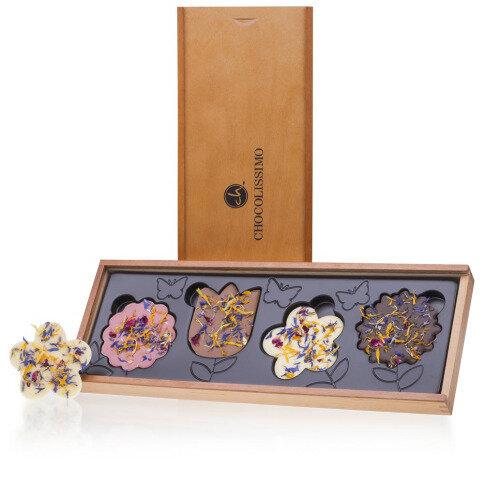 Levně Chocolissimo - Čokolády ve tvaru květin s jedlými sušenými květinami 80 g