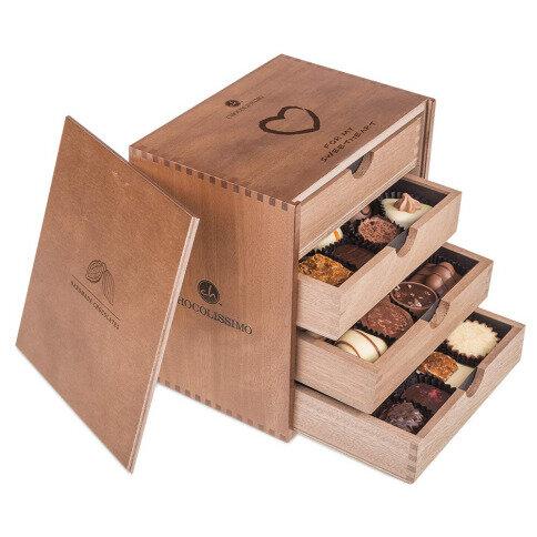 Chocolissimo - ChocoMassimo - Pralinky v dřevěné krabičce 500 g