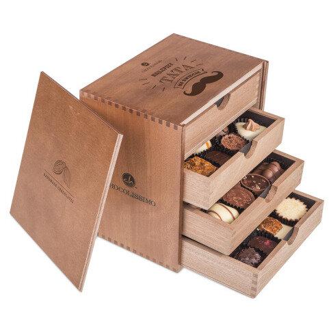 Chocolissimo - ChocoMassimo pro muže - Pralinky v dřevěné krabičce 500 g