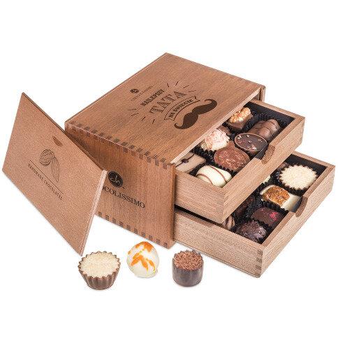Chocolissimo - Chocolaterie pro muže - Pralinky v dřevěné krabičce 250 g
