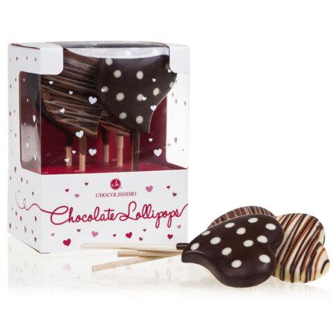 Chocolissimo - Sada 5 čokoládových lízátek ve tvaru sdce 100 g