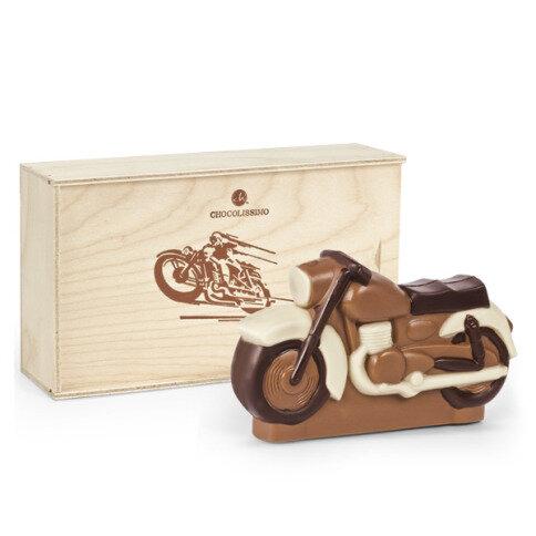 Chocolissimo - Motorka z čokolády v dřevěné krabičce 130 g