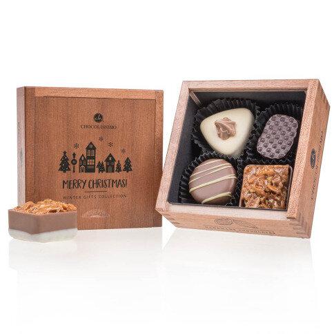 Chocolissimo - Dřevěná vánoční mini bonboniéra 50 g