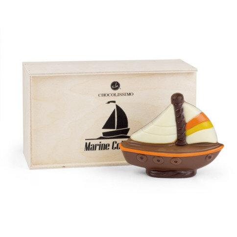 Levně Chocolissimo - Čokoládová loď v dřevěné škatulce 60 g