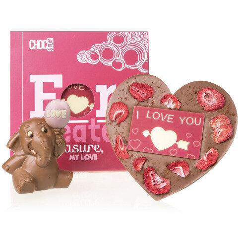 Chocolissimo - Čokoládový dárek pro miláčka - slon a srdce s přísadami 290 g