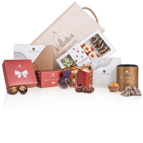 Chocolissimo - Dřevěná darovací skřínka s čokoládkou k Vánocům 645 g