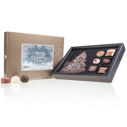 Chocolissimo - Střední vánoční bonboniéra s vlastní fotografií - zlatá 125 g