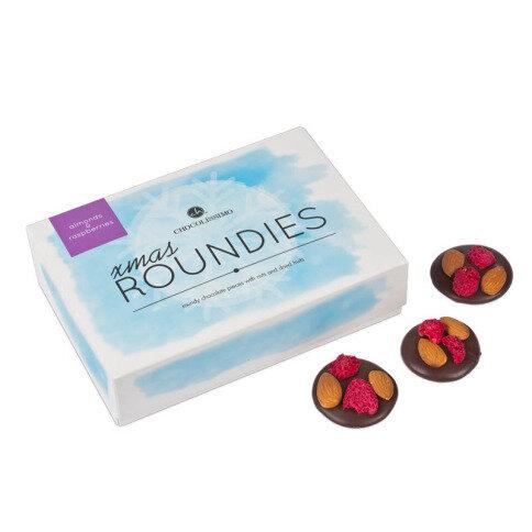 Chocolissimo - Vánoční čokoládové kolečka s malinami a mandlemi 130 g