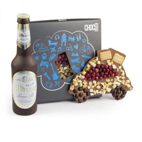 Chocolissimo - Čokoládová sada pro muže - auto a pivo 255 g