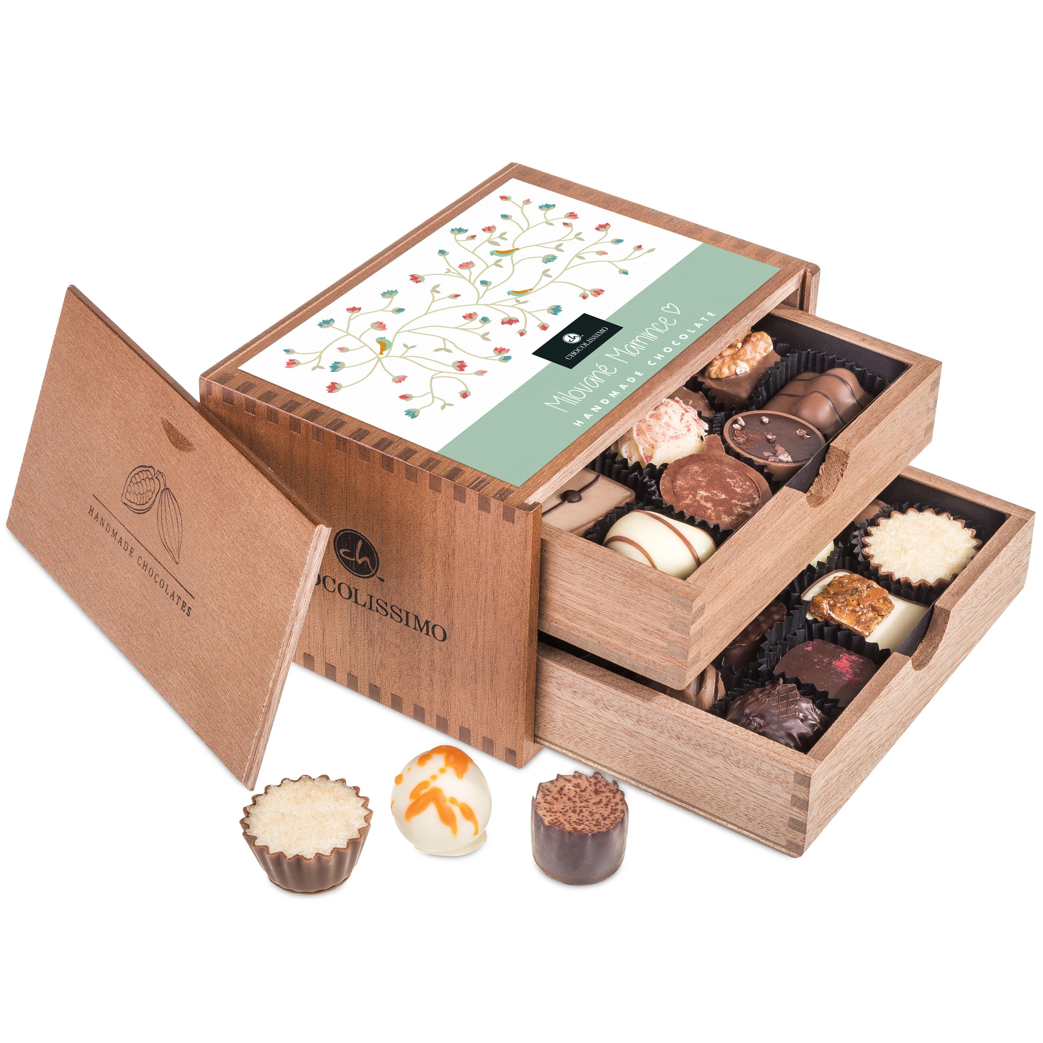 Chocolissimo - Chocolaterie pro maminku - Pralinky v dřevěné krabičce 250 g
